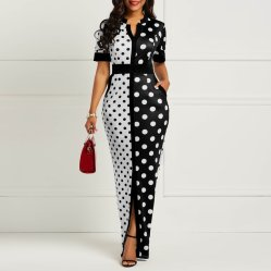공장 고온 판매 인쇄된 긴 드레스 오피스 파티 드레스 맥시 여성 주식