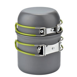 Utensilios de Cocina apilable Portable equipo para acampar, Camping Al aire libre juego de ollas y sartenes de aleación de aluminio 2pcs Non-Stick Camping Esg13005 utensilios de cocina
