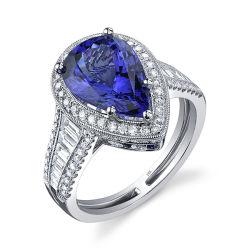 Forma de perlas Piedra Azul 925 Joyería de Plata anillos de ajuste de micro