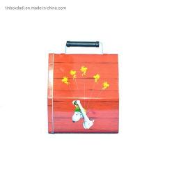 نوع المنزل رسم الخرائط صندوق غداء من الطين المعدني مع مقبض
