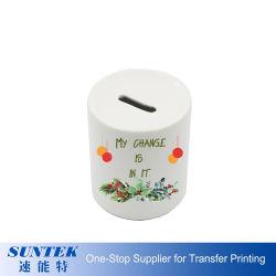 Cilindro rotondo Bianco sublimazione scatola di denaro in ceramica Banca di risparmio moneta