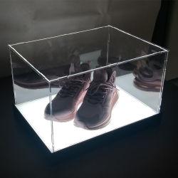 取り外し可能なPlastiocの靴箱のアクリルはLEDライトが付いている陳列ケースに蹄鉄を打つ