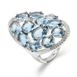 Exaggrated Marquesa Blue Zc Piedras 925 Joyería de Plata Regalo de navidad de parte del anillo de tamaño 6 7 8
