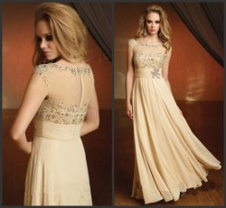 Gold Cream Prom Dress Chiffon Mother of Bride Evening Dress E16424