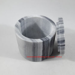 Cartouche de marbre gris /Jar de pierre de marbre gris avec couvercles /Jelewery Boîte de pierre de marbre gris