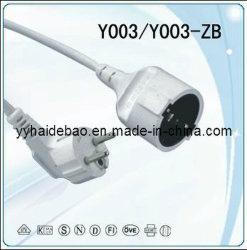 Europa VDE/GS/CE cable Alargador Cable de alimentación con cable H05VV-F 3G1.0mm2 2.5/5.0m blanco/amarillo
