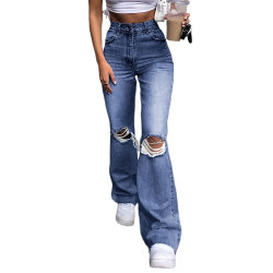 Venda por grosso Senhoras Ripado Azul do orifício de cintura elevada soltas Bell Jeans Inferior