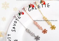 La moda de joyería de plata de ley 925 de la Navidad de copo de nieve de esmalte Colgante y pendientes de la mujer