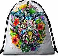 Кулиской рюкзак красочные богемского черепаха пляж полотенце банными полотенцами String Bag Sackpack для походов йога тренажерный зал Спортивный Бассейн Бассейн поездки
