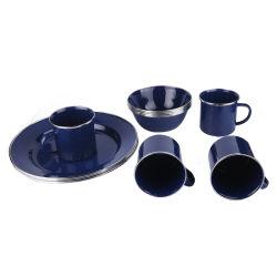 L'émail Mug+ Plaque émail +Bol d'émail de la céramique vaisselle porcelaine Vaisselle Enamel Ustensiles de cuisine de l'émail de la vaisselle de l'émail vaisselle vaisselle de Camping