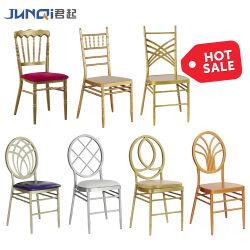 Bas prix empilables moderne Charivari mariage blanc chaise de fer métallique de haute qualité Hôtel Restaurant de l'acier Chiavari Président