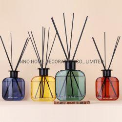 Difusor con botella de vidrio de color y tapa de madera 180ml los aceites de fragancia OEM ODM.