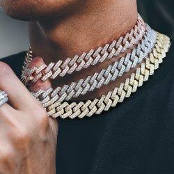 Hip Hop Damen Herren Edelstahl Twist Rope Miami Iced Aus 18K Gold überziehen Curb Diamant kubanischen Link Kette Halskette