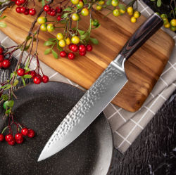 Het gehamerde Mes van de Chef-kok, 8 Duim - het hoge Blad van het Zweempje van het Roestvrij staal van de Koolstof Volledige met Houten Handvat