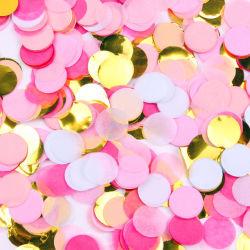 Venda por grosso de decoração Partido Personalizado Círculo saco tecido de malha metálica de casamento de papel biodegradável confete