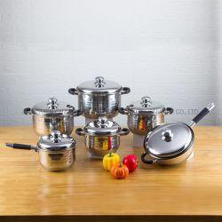 12 piezas de acero inoxidable utensilios de cocina con revestimiento anti-adherente Sartén Juego de utensilios de cocina de acero inoxidable