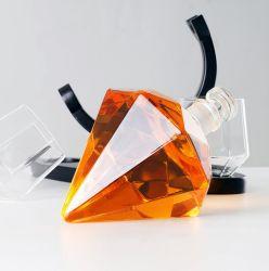 大きいギフト 750ml のダイヤモンドのガラスおよび木の基盤の酒およびウイスキー ウォッカデカンタ