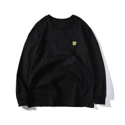 Stijlvolle Custom Clover Embroidered Long Sleeve men Cotton Black Solid Grote T-shirts