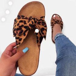 Sapatas das mulheres Verão Superstarer Fashion Sexy Bow Chinelos Senhoras Bonitinha Leopard Sandálias plana