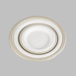 Heavy-Duty Quality Natural Disposable Bagasse, ecologisch gemaakt van suikerriet vezels, 9 inch, Bruin wit