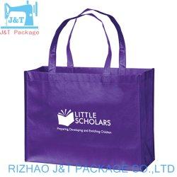 Costura azul promocional asa larga Bolsa de compras no tejido con costuras X