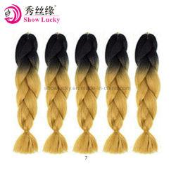 """柔らかいかぎ針編みは総合的な毛の組みひもの毛のセネガルのねじれのKanekalonの毛の拡張ミントの緑24 """"黒いブラウンを編む"""