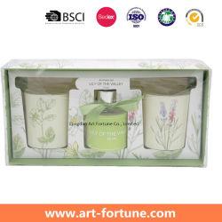 선물 상자에 있는 냄새가 좋은 초를 가진 방향 향수 정유 갈대 유포자