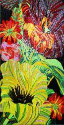 Fleur de la peinture en mosaïque de verre pour les murs de l'image (JRJP164)