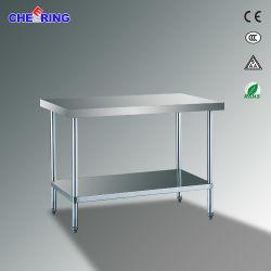 Simplemente, mesa de trabajo de acero inoxidable con estantes de la banqueta bajo