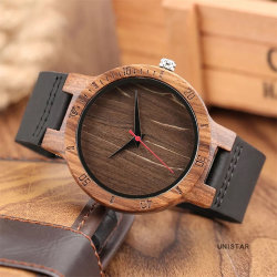 Кофе в стиле ретро набора мужчин смотреть из естественной древесины аналоговые кварцевые часы мужской Натуральная кожа полоса Quartz Reloj de Madera часы для мужчин - V214
