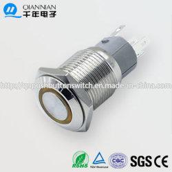 16mm 1NO 1NC autobloquant effaçable anneau plat allumé IK10 IP67 Interrupteur à bouton poussoir