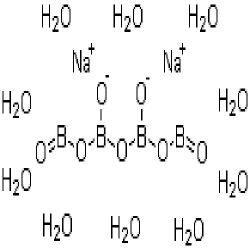 原料がほう素の混合物として使用したようにホウ砂またはナトリウムの四ホウ酸塩のDecahydrate