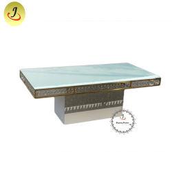 Décoration en verre en cristal haut châssis en acier inoxydable Table à manger pour mariage