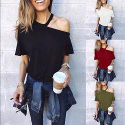 Heiße Art-Shirt-Normallack-Kurzschluss-Hülsen, die Stutzen und blank Schultern hängen