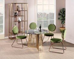 椅子セットが付いているヨーロッパ式の食堂の家具のステンレス鋼そして性質の大理石表