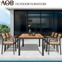 Jeux de Plein Air moderne de meubles de jardin en bordure de piscine fixe de salle à manger de l'aluminium Fauteuil et table