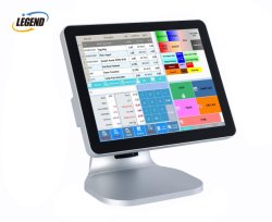 """Window Version Kingston Memory 15"""" Point of Sale Touch Screen جهاز POS بلون فضي"""