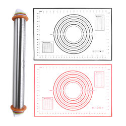 Bakewareセットを練る環境に優しい焦げ付き防止の台所シリコーンのKkneadingのパッドのステンレス鋼の圧延Pin