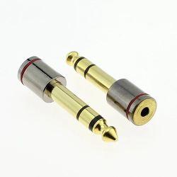 Goldener 6.35mm männlicher Mono-/Stereostecker zum 3.5mm Weibchen Jack für Kopfhörer/Kopfhörer/Audio/Video