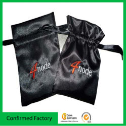 Tela satinada de moda bolsa bolsa con cordón de satén bordado del logotipo