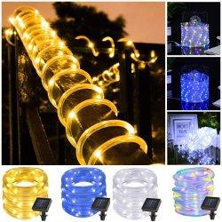 100 LEDs de luz de la cadena de tubo de cuerda de Energía Solar