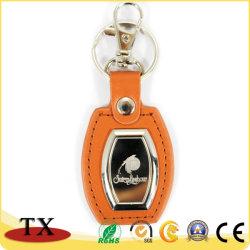 Couleur personnalisée et le logo de la chaîne de clés en cuir polyuréthane orange