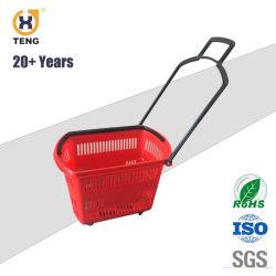 Tiendas Cesta de plástico, canasta de supermercados, canastos, Rueda cesta
