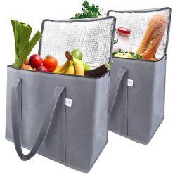 격리한 재사용할 수 있는 식료품류 쇼핑은 Foldable 냉각기 끈달린 가방을 자루에 넣는다