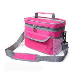 폴리에스테 냉각기 부대, 주문 도매 재사용할 수 있는 휴대용 운반물 420d 600d 비 길쌈된 열 Icebag 음식 병 포도주에 의하여 격리되는 납품 픽크닉 점심 어깨에 매는 가방