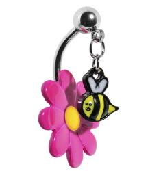 [ستينلسّ ستيل] يدلّي أعلى يطنّ نحلة زهرة سرعة بطن حل جسم مجوهرات [بيرسنغ]