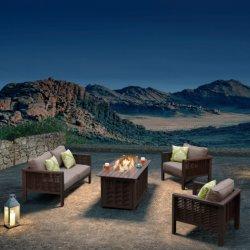 Los conjuntos de jardín exterior del bastidor de aluminio muebles sofá junco con Fire Pit - Dallas (listo para el envío)