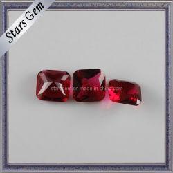 De forma octogonal corte brillante abalorios de cristal de color rojo oscuro
