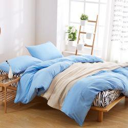 Importer à partir de la Chine rabais de gros brossé lit bleu clair en microfibre avec jeu de feuilles simples, doubles Queen, King Size