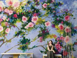 Murales decorativos de papel de pared personalizado, Casa Deco Salón Dormitorio Flor abstracta del paisaje impermeable Arte artístico personalizado personalizado